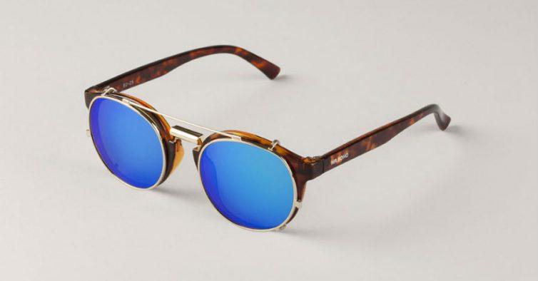 fb97c938c Este modelo chama-se NewTown (curioso) e são da marca portuguesa Mr.Boho.  Têm as lentes azuis espelhadas e a armação em padrão tartaruga.