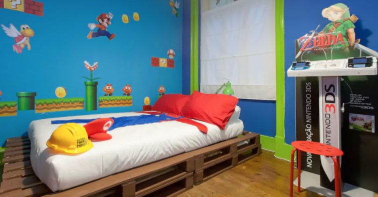 J pode dormir num quarto inspirado no super m rio nit - Chambre mario ...