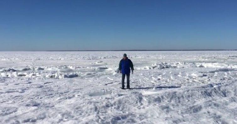 praia que congelou