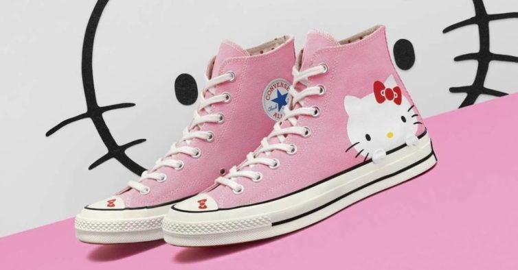 e0f612856a3 Estas sapatilhas são perfeitas para quem adora a Converse e é fã da Hello  Kitty
