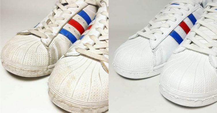 5dc874d15eb Esta lavandaria limpa as sapatilhas brancas até ficarem como novas