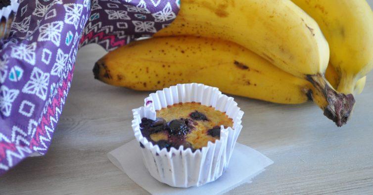 Queques de mirtilo e banana