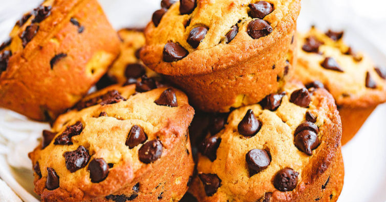 Muffins com pepitas de chocolate