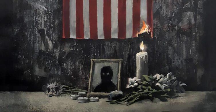 A nova obra viral de Banksy é uma homenagem à morte de George Floyd