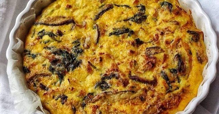 Quiche de requeijão e cogumelos shiitake