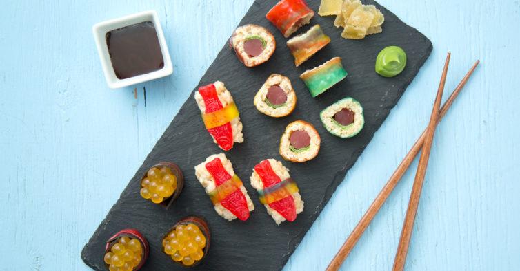 Já pode fazer uma festa japonesa com sushi de gomas
