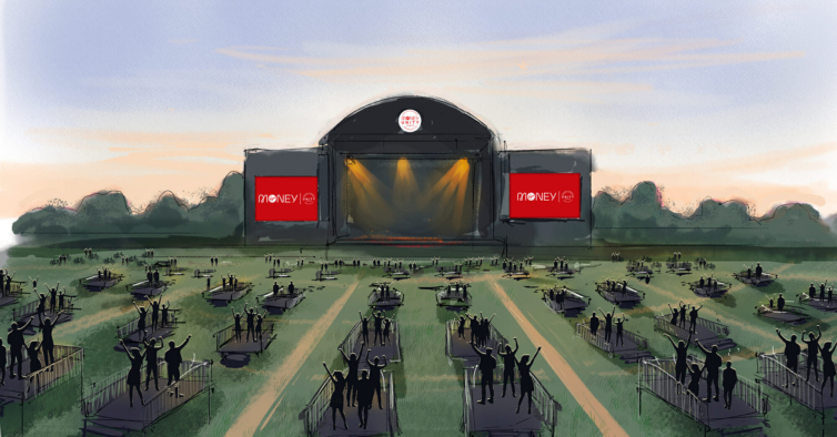 Neste festival da era Covid há plataformas elevatórias para ver os concertos